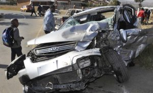 An accident that happened on the Main North road near Hi-Fi City on Friday. Six people were severely injured