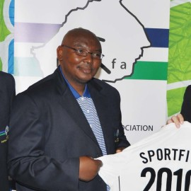 File Photo: Lesotho Football Association's Mokhosi Mohapi, left, Lefa's Tlholo Letete, middle, and Sportive's Nicholas MacGowan von Holstein at the launch of the deal in August 2008