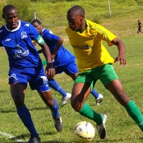 LDF striker Thabo Mphethe ,right, controls the ball as Matlama defender Nkau Lerotholi,left, chases during a Vodacom Premier League match in Ratjomose yesterday (4)