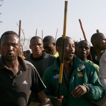 Mine workers outside Lonmin mine, South Africa