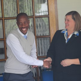 US Embassy Maseru Chargé d'Affaires, Elizabeth Pelletreau shares a lighter moment with Butha-Buthe Camp Primary School Principal Hlompho Mpati at the signing ceremon