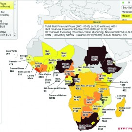 Map of Total Illicit Financial Flows 2001-2010 (USD Millions) (Global Financial Integrity, 2012)