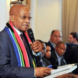 President Jacob Zuma addresses a Business Interaction Group session at the World Economic Forum in Davos Switzerland