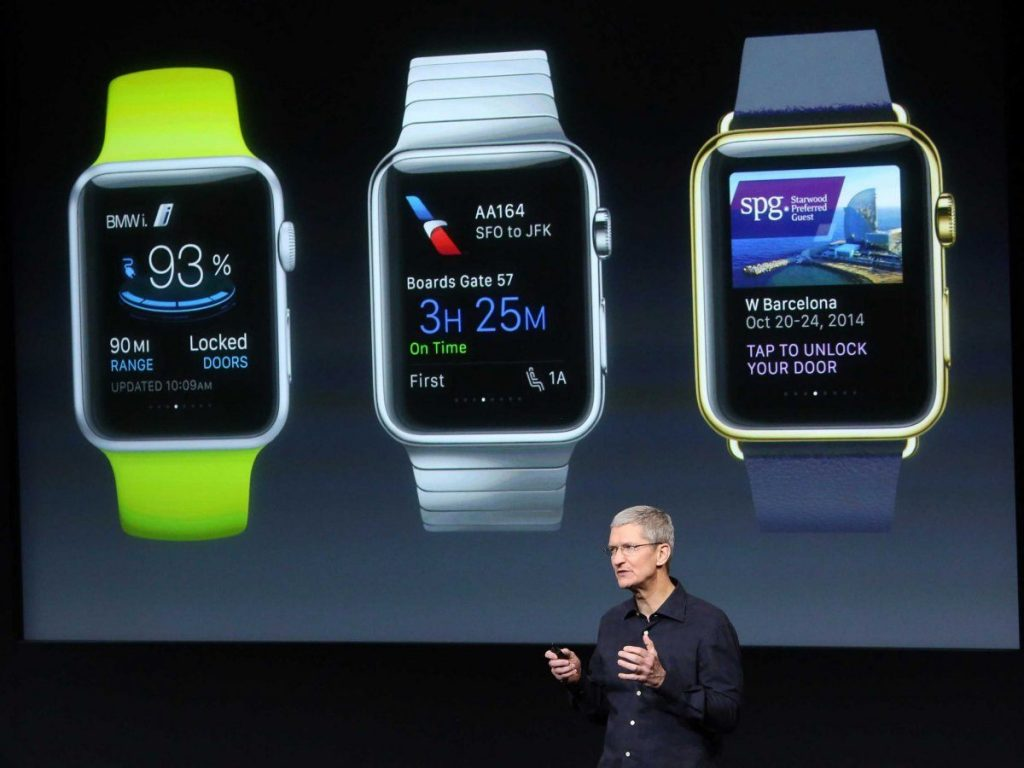 Apple CEO Tim Cook introduces the Apple Watch during an Apple event in San Francisco last month.