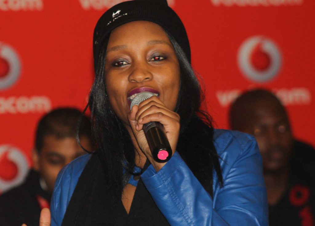 Vodacom Superstar 2013 RnB category winner, Mapule Mosiuoa performs at the launch event yesterday.