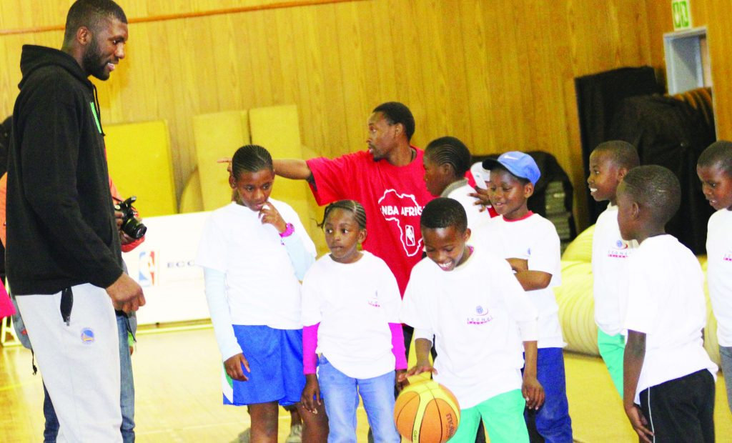 National Basketball Association (NBA) Star, Festus Ezeli, arrived in the country on Monday where he held coaching clinics at Lehakoe club