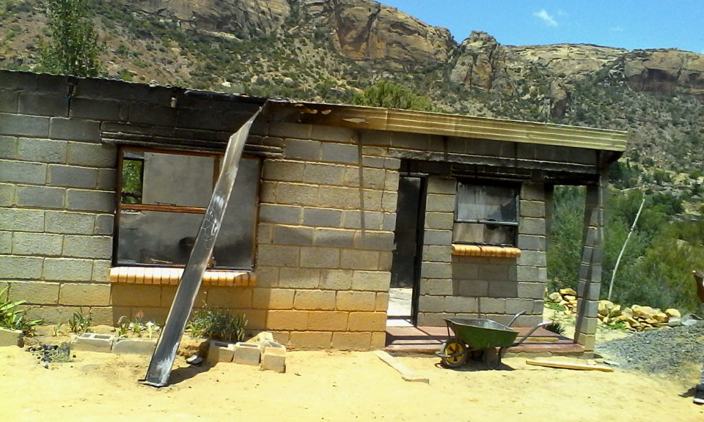 The Lebuso family house was burnt down in a zama-zam a gang war that has  spilled into Qheme villages (6)