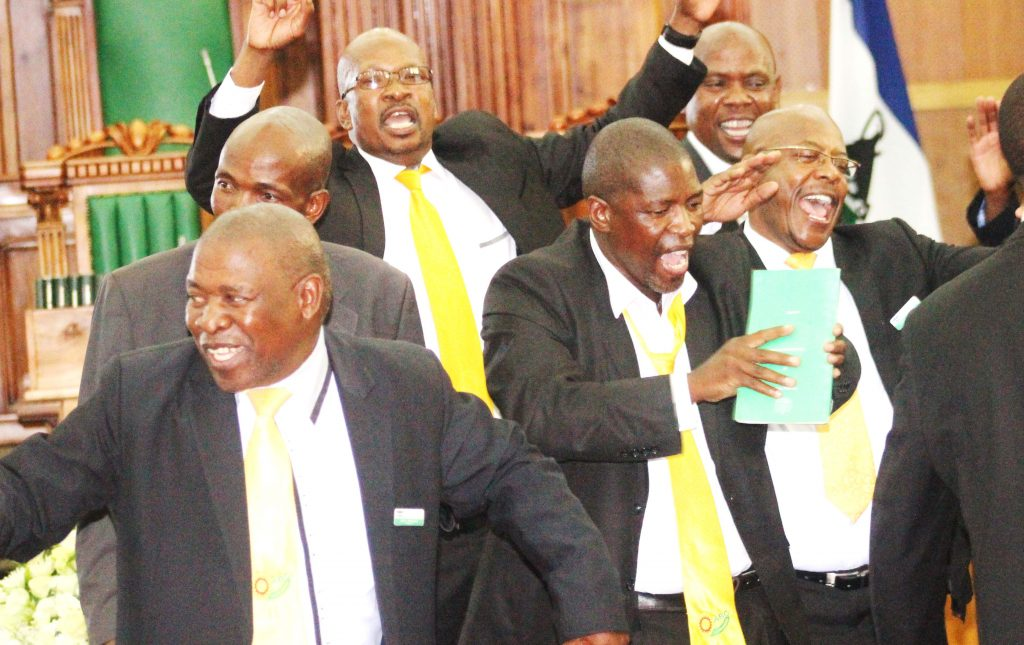 ABC MPs sing in Parliament while protesting against the SADC report tabled by Prime Minister Pakalitha Mosisili