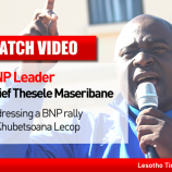 MEC Leader Selibe Mochoboroane addressing party supporters in Thetsane Industrial area